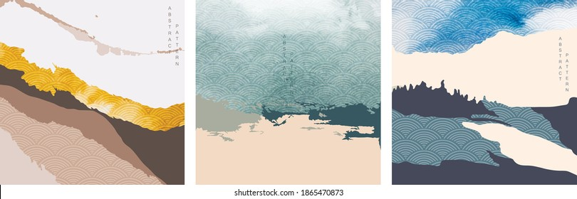 Abstract landscape background with Japanese wave pattern vector. Mountain forest with silhouette hill template with brush stroke texture.