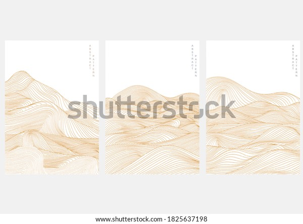 Abstract landscape background with Japanese wave pattern vector. Mountain template with line pattern elements.