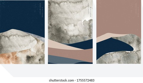 Abstract landscape background with mountain forest template. Natural panorama with watercolor texture illustration.