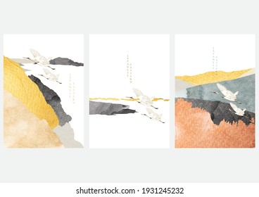 Abstract landscape with crane birds vector. Watercolor texture with mountain forest background in vintage style.