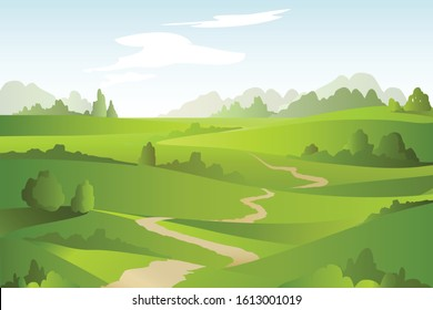 Abstract landscape with green fields, trees, lane. Beautiful rural nature. Vector Illustration.