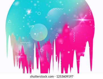 Abstract landscape with holographic cosmos and future universe background. 3d fluid. Futuristic gradient and shape. Spectrum mountain silhouette with wavy glitch. Memphis abstract landscape.