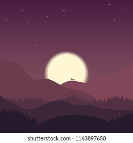 Abstract landscape illustration. The wolf howling for a month