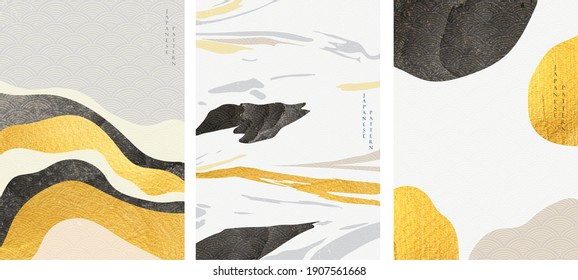 Abstract landscape with Japanese wave pattern vector. Nature art background with Mountain forest template in vintage style.