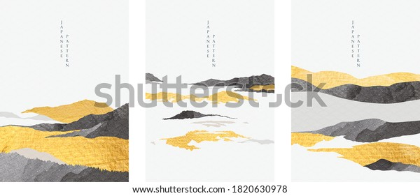 Abstract landscape with Japanese wave pattern vector. Nature art background with Mountain forest template in oriental style.
