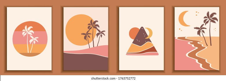 Abstract landscape poster collection. Set of contemporary art print templates. Nature backgrounds for your social media. Sunset and sunrize, beach and palms illustration.