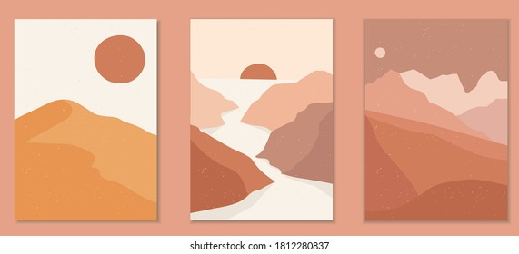 Abstract landscape poster collection. Set of contemporary art print templates. Nature backgrounds for social media. Sun and moon, sea, mountains, ocean, river bundle.