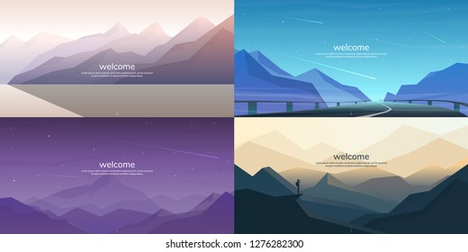 Abstract landscape set. Minimalist style