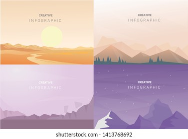 Abstract landscape set, Vector banners set with polygonal landscape illustration, Minimalist style