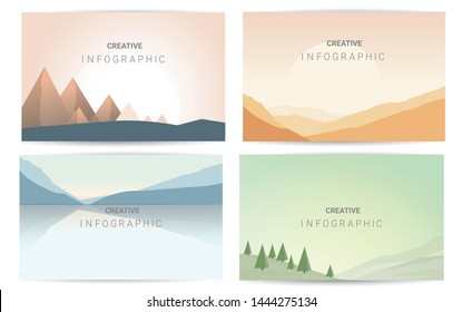 Abstract landscape set, Vector banners set with polygonal landscape illustration, Minimalist style.