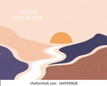 Abstract landscape. The sun sets between the mountains, the river goes into the distance. Background with space for text, vector illustration, banner, poster