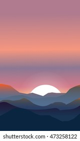 Abstract landscape of a sunset. Pink and peachy colors. The sun is setting down while yet being visible behind the hills.