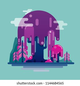 Abstract Landscape Trees and Mountains Wild Nature Comic Style Simple Flat Vector Art Illustration Design