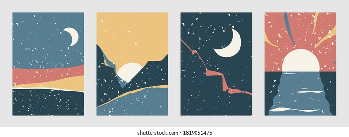 Abstract landscape vector background set in modern boho style. Contemporary minimal style patterns with nature view. Dawn, sunset, night, morning illustration with vintage texture.