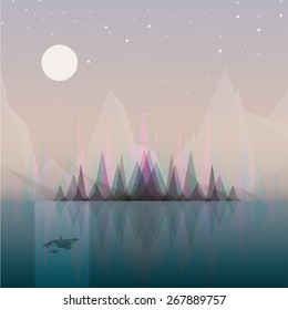 abstract landscape vector illustration concept with subtle aurora borealis effect appearing behind the forest trees reflecting in the ocean water. Night scenery with moonlight casting light on whales.