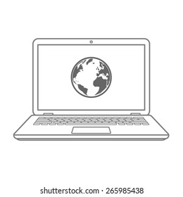 Abstract laptop icon with globe on screen