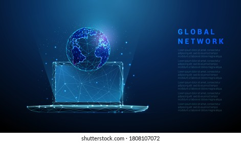 Abstract laptop with planet earth. Low poly style design. Blue geometric background. Wireframe light connection structure. Modern 3d graphic concept. Isolated vector illustration.