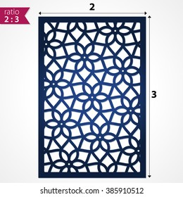 Abstract laser cut pattern background. Die cut vector flower panel for cutout paper card. May be used for laser cutting, stencil or die cutting. Laser cutting file vector. Design template laser cut.