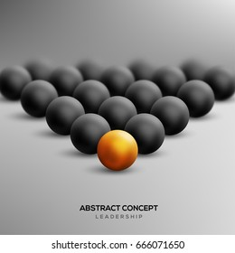 Abstract leadership concept with gold ball leading black ones. Vector illustration. Business teamwork and success