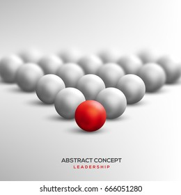 Abstract leadership concept with red ball leading white ones. Vector illustration. Business teamwork and success