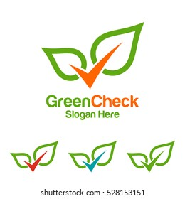 Abstract leaf and check, represented ecology and green logo