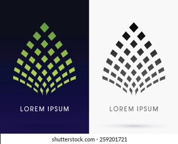 Abstract Leaf, Lotus, architecture, building ,logo, symbol, icon, graphic, vector.