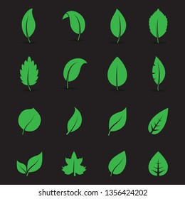 Abstract leaf and tree icon set isolated on black background. Collection of leaf and trees icon for symbol, logo, sign, label and app. Creative art concept. Vector illustration, flat leaves