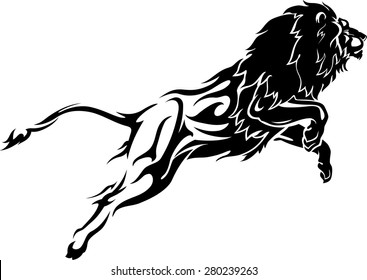 Abstract Leaping Lion with Flame Trail Body