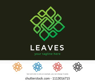 Abstract Leaves Monogram, Logo Symbol Template Design Vector, Emblem, Design Concept, Creative Symbol, Icon