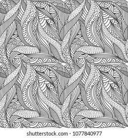 Abstract leaves seamless pattern. Adult zentangle coloring book page. Doodle vector hand drawn background template.