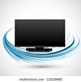 abstract led TV blank screen realistic reflection blue wave stylish colorful vector