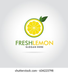 Abstract lemon with leaf isolated on white background. Modern logo. Citrus logo template illustration