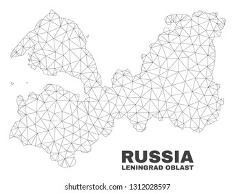 Abstract Leningrad Region map isolated on a white background. Triangular mesh model in black color of Leningrad Region map. Polygonal geographic scheme designed for political illustrations.