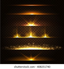 Abstract Lens Flares Collection. Glowing stars. Lights and Sparkles on Transparent Background.  Shining borders. Vector Illustration.