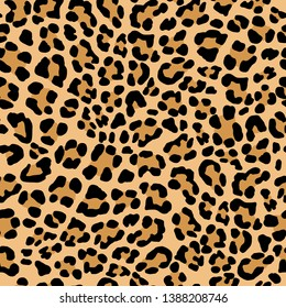 Abstract Leopard pattern. Trendy seamless vector print. Animal texture. Black and light brown spots on beige background. Leopard skin imitation for painted on clothes or fabric.