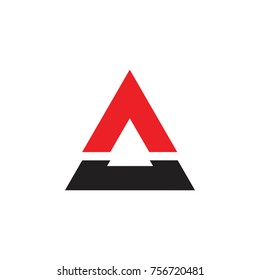 abstract letter a. breaking triangle logo vector