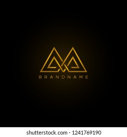 Abstract letter AA . Luxury logo design template. Vector letter logo with gold and black color.