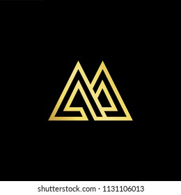 Abstract letter AA AM MA. minimal logo design template. Vector letter logo with gold and black color.