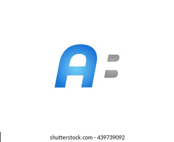 Abstract letter AB. lovely logo design template. Vector letter logo with grey and blue color.