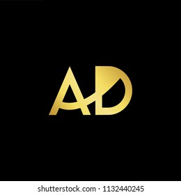 Abstract letter AD DA. minimal logo design template. Vector letter logo with gold and black color.
