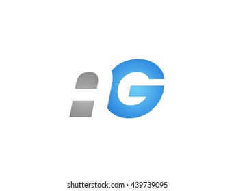 Abstract letter AG. lovely logo design template. Vector letter logo with grey and blue color.