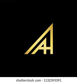 Abstract letter AH HA AA. minimal logo design template. Vector letter logo with gold and black color.