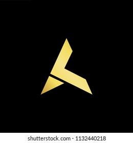 Abstract letter AK KA. minimal logo design template. Vector letter logo with gold and black color.