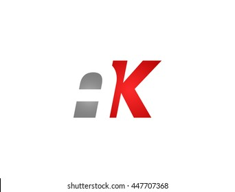 Abstract letter AK. lovely logo design template.
