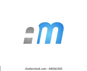 Abstract letter AM. lovely logo design template. Vector letter logo with grey and blue color.