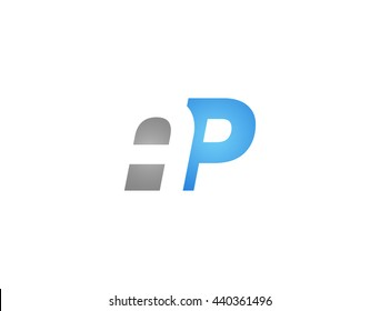 Abstract letter AP. lovely logo design template. Vector letter logo with grey and blue color.