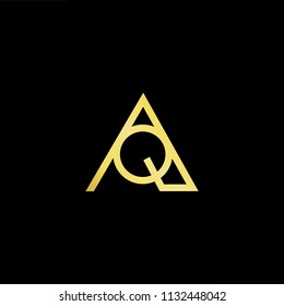 Abstract letter AQ QA. minimal logo design template. Vector letter logo with gold and black color.