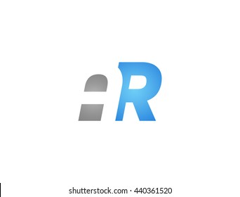 Abstract letter AR. lovely logo design template. Vector letter logo with grey and blue color.