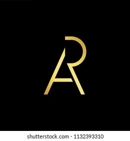Abstract letter AR RA. minimal logo design template. Vector letter logo with gold and black color.
