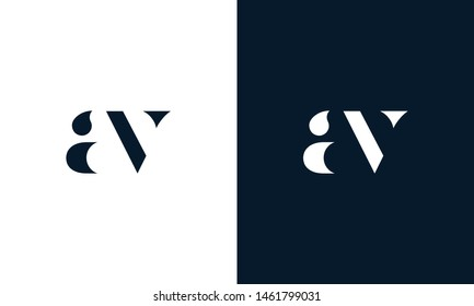Abstract letter AV logo. This logo icon incorporate with abstract shape in the creative way. It look like letter AV. It will be suitable for Which company name start AV.